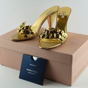 Miu Miu Gold Sandals